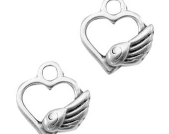 "DQ Metal pendant, charm ""heart with Angel Wings""-3 pcs.-Zamak-color selectable (color: silver)"