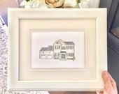 Mini Custom House Drawing, Custom House Portrait, Custom Home Drawing, Custom Home Portrait, Housewarming Gift, House Drawing from Photo