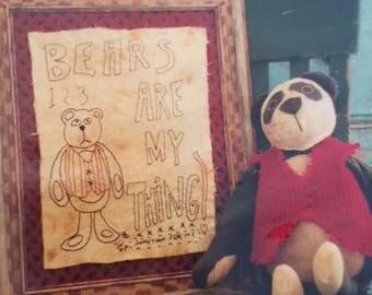 Elwood Teddy Bear Stitchery and Bear print pattern