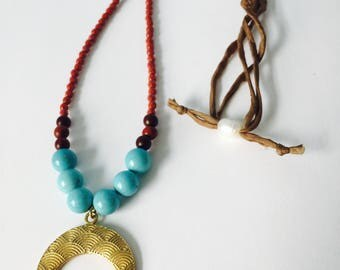 Statement necklace with crescent focal---rosewood and turquoise detail with hand-dyed silk cord and freshwater pearl closure