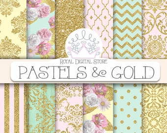"Gold Digital Paper: ""PASTELS & GOLD"" with gold damask  pattern, gold digital paper in pastel colors, pink, mint, wood, glitter for cards"