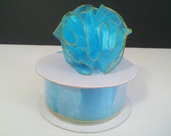 """1 1/2"""" Turquoise Organza Pull Bow - 25 Yards"""