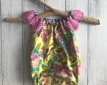 Free Spirit Romper with Lace sleeves - Yellow floral with pink crotcheted lace sleeves