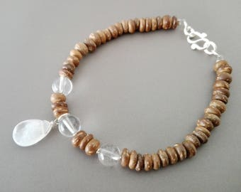 Rock crystal, coconut wood and silver bracelet solid nature jewelry