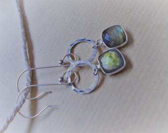 Labradorite and sterling silver earrings / / square and round