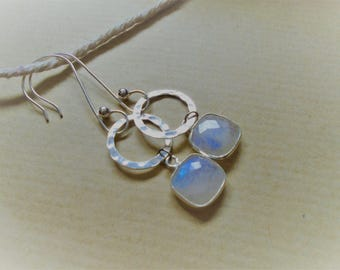 Moonstone and sterling silver earrings / / square and round