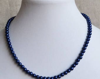 navy blue pearl necklace, 6 mm glass pearl necklace, wedding necklace, bridesmaids necklace, statement necklace, flower girl necklace