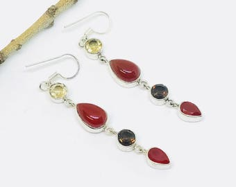 Carnelian , citrine, smokey topaz earrings set in sterling sliver 92.5. Natural authentic stones. Perfectly matched. Length- 2 inch.