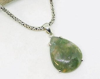 10% Moss agate pendant set in sterling silver(92.5). Natural authentic stone. Length -1.75 inch