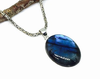 10% Labradorite , moostone pendant necklaces set in sterling silver 92.5. Natural authentic stone. Length- 2 inch