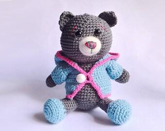 Crochet Amigurumi Collectible Sweater Bear, limited edition