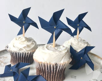 Navy Blue Pinwheel Cupcake Toppers, Cake Picks