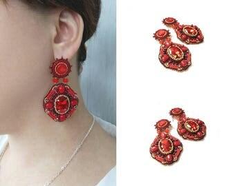 Red crystal earrings beadwork Beaded embroidery coral earrings Large beaded earrings Bead embroidered earrings Original earrings handmade