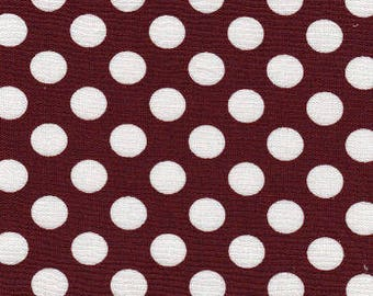 Crimson dot by Fabric Finders, Garnet and white dot fabric by the yard, burgandy polka dot cotton quilting apparel fabric, gamecock fabric