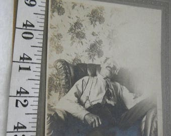 CLEARANCE Late 1800's Post Mortem Tin Type Photo of Man/Father/Grandfather Posed in Chair,Death Photo,Mans Funeral Photo  {G}