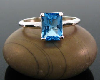 Blue topaz ring, topaz ring silver, swiss blue topaz ring, swiss blue ring, blue topaz size 3 4 5 6 7 8 9 10 11 12 13 sterling silver rings