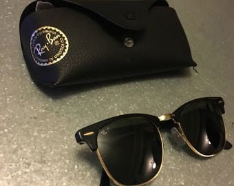 Ray Ban Clubmaster Black with Gold Trim