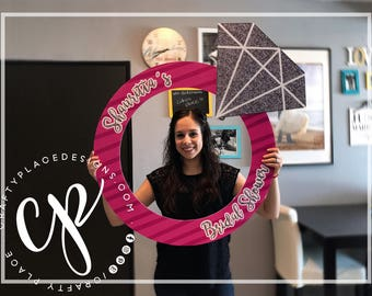 Bridal Shower photo booth frame | Engagement ring photo booth prop | Bachelorette photo prop | Diamond selfie frame | Printed