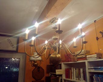 Large brass Ceiling chandelier 90 x 70 cm