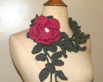 On Sale- Scarf  Lariat Gray Crochet Pink Rose Flower Brooch Necklace With  Ivy Floral Accessory Freeform Spring Fashion Long Skinny