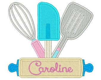 Utensils Machine Embroidery Design Kitchen Embroidery Designs Filled stitch 4X4 5X7 8X8 6X10 Instant download