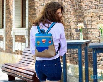 Sale - Backpack - Messenger bag, Travel Bag - Hand work-Faux leather - Women's vegan backpack - Handcrafted Messenger Backpack - Gift Idea