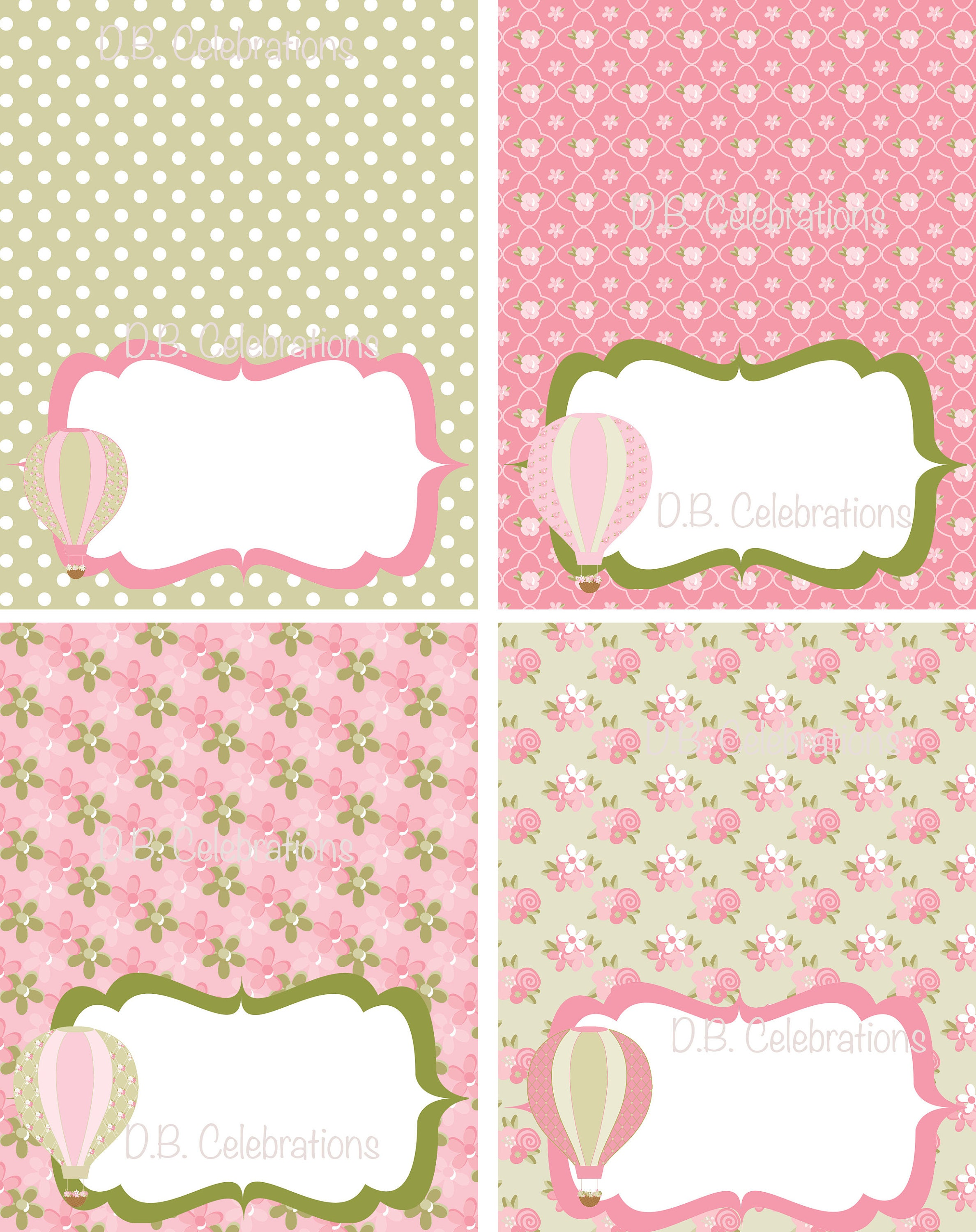 Shabby Chic Hot Air Balloon Food Label Table Tents INSTANT