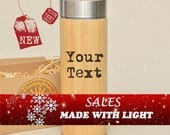 Gift SALEs Personalized Thermos with Your Text or Your Image Engraved Bamboo Wood Stainless Steel with Screw Lid