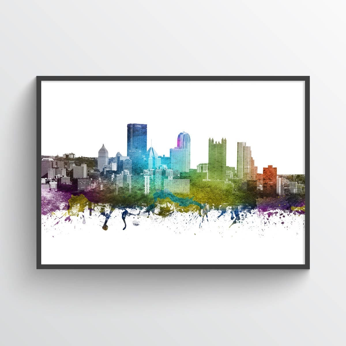Color art printing anchorage - Details Beautiful Pittsburgh Pennsylvania Skyline In Color Poster Print