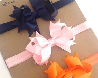 Set 3  Headband  two Layers of Ribbon and Spikes 3.5 inch Boutique Bow