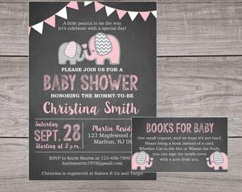 Elephant Baby Shower Invitation Girl - Chalkboard Baby Shower Invitations - Girl - Pink - Elephants - Baby-103