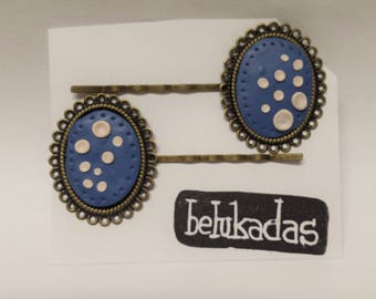 Vintage Stile Bobby Pins. Blue and Bronze Hair Pins. Set of 2 Original Hair Clips.