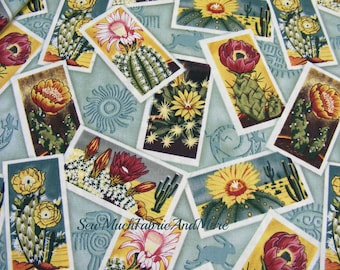Bargain Bin-2-Bolt Ends-Southwestern Cactus fabric-desert plants-flowers-cotton-succulents