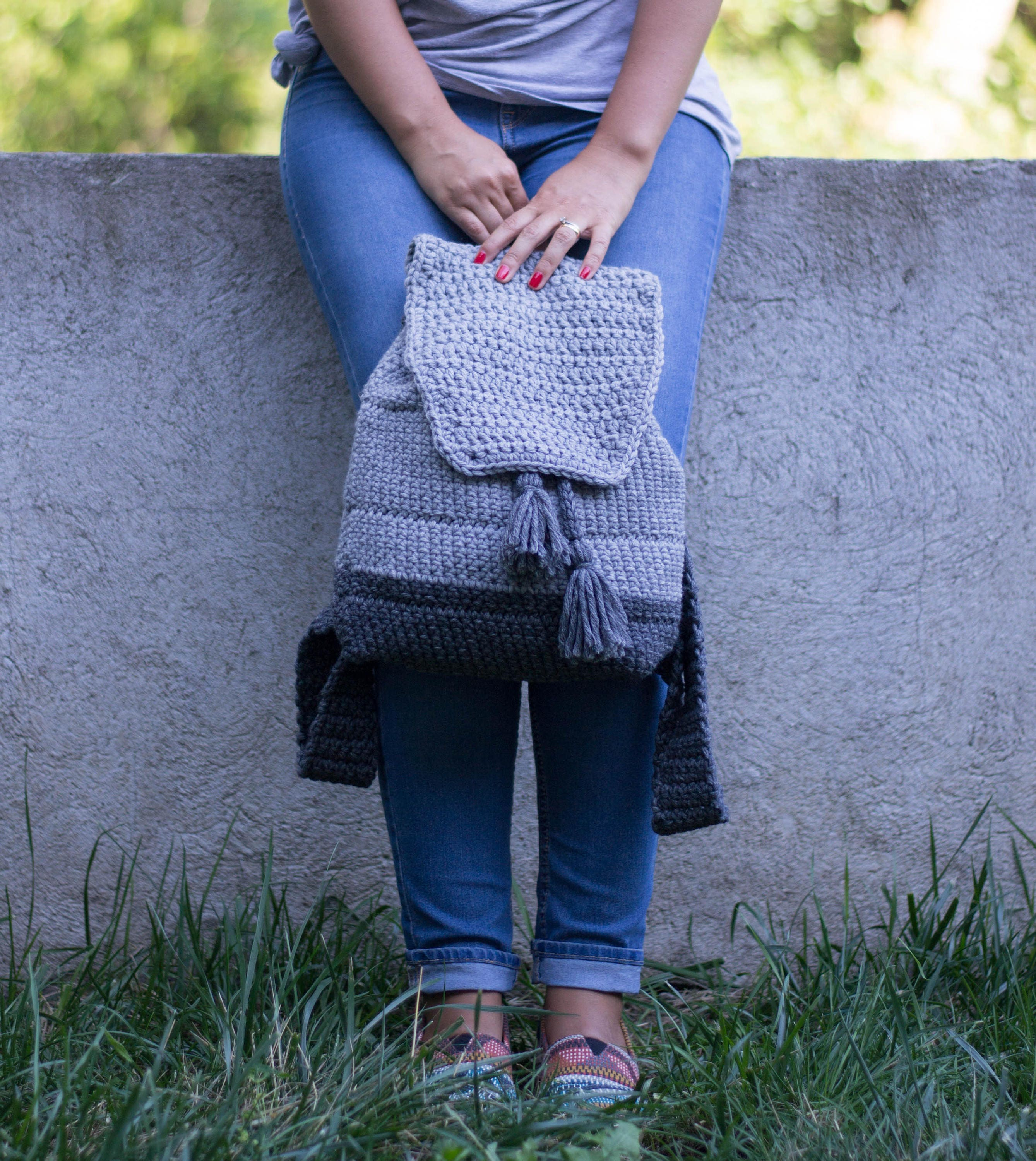 Light Grey Dipped Backpack - Crochet Pattern, Everyday Backpack ...