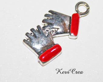 2 x charms gloves Christmas enameled metal