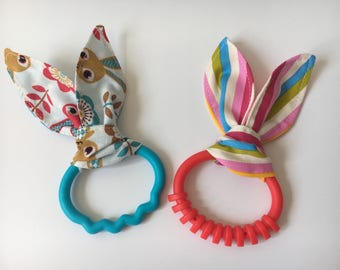 Bunny Ear Teething Ring / Baby Teething Ring / Baby Toy Modern Stripe/Spotty