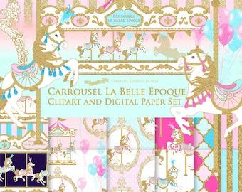 20% off Carousel / Gold Glitter Carousel / Carrousel La Belle Epoque Clip Art + Digital Paper Set - Instant Download
