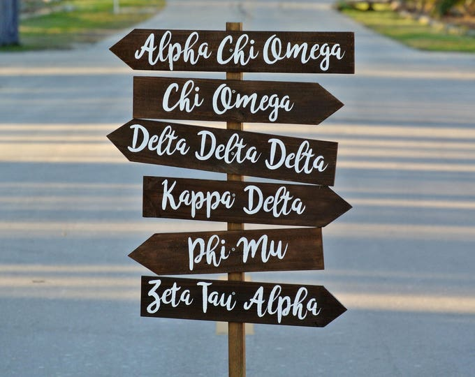 Alpha Chi Omega gifts, Kappa Delta Sorority Sister Wooden Signs, Arrow Direction Wood signs, Rustic Destination Sign post, Sign pole.