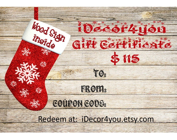 Last Minute Christmas Gift Certificate Printable Holiday Gifts Card for Her, Gifts for Co-Workers, Easy Christmas Cards
