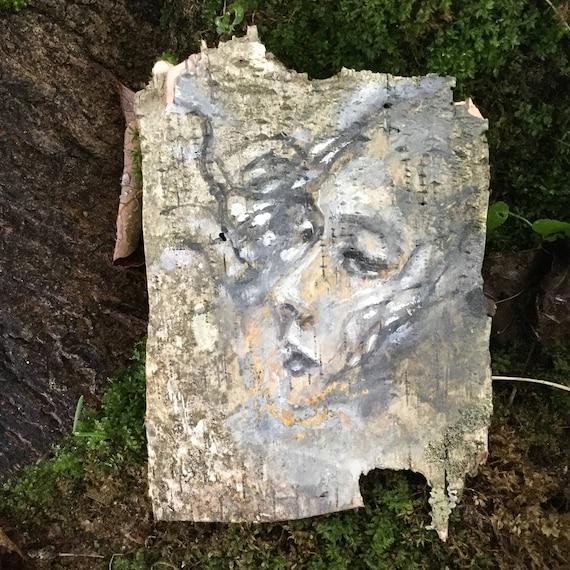 Wild wind Birch Bark Original Painting wall art Woodland Theme Art woman's face nature natural