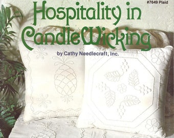 Hospitality in Candlewicking by Cathy Needlecraft No. 7649 Pineapple and Grape Designs Iron On Patterns