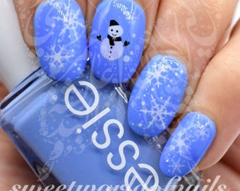 Christmas Nail Art Snowflakes Snowman Water Decals Transfers Wraps