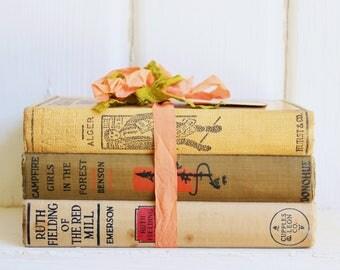 Antique BOOK BUNDLE 1910's Neutral Tones, Vintage Decorative Books, Campfire Girls
