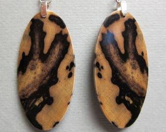 Black & White Ebony Dangle Exotic Wood Earrings handmade ExoticWoodJewelryAnd ecofriendly earthy