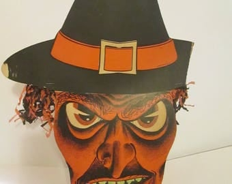 extremely rare 1930u0027s to 1960u0027s era halloween decoration of a scary looking cardboard witch sale
