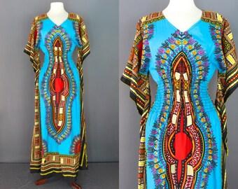 Dashiki Style Dress    70's Jamaican African Daishiki Dress With Kimono Sleeves