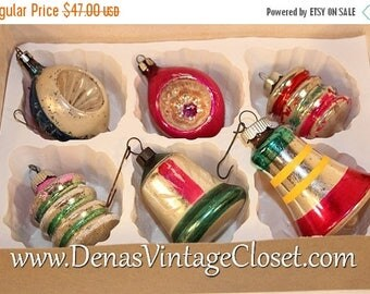 20% Off Sale Vintage Mercury Glass Christmas Ornaments Hand Painted Indents Bells in Box of 6