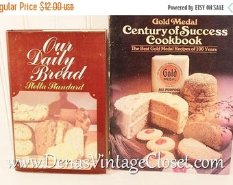 30% OFF Sale 2 Vintage  70's Cook Books Our Daily Bread Gold Medal Century of Success Cookbook