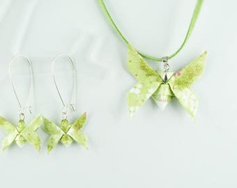 Set of origami paper, soft Green Butterfly pendant and earrings