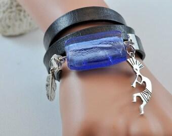 ethnic bracelet Venetian stone blue flute player